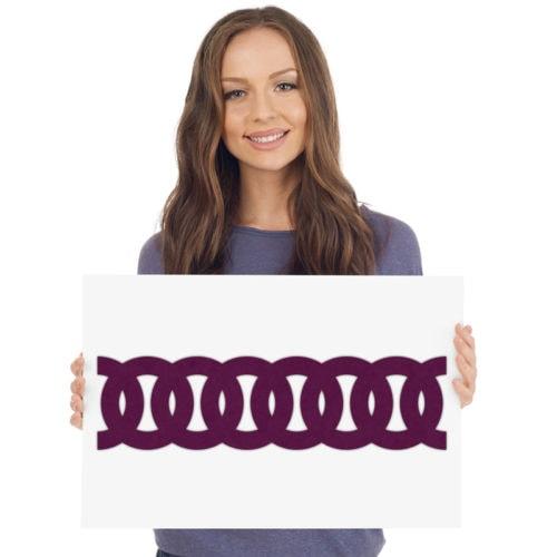 felty Filz Border Bordüre zur Wandgestaltung Wohnraum Modell Robin Größe L Farbe A56 violett Modellbeispiel