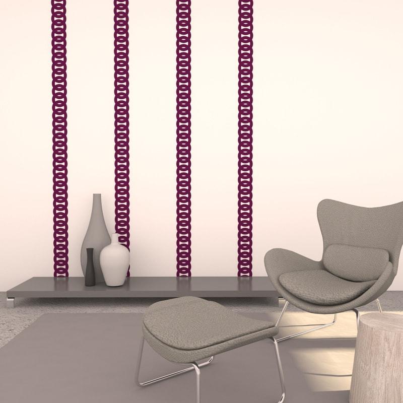 felty Filz Border Bordüre zur Wandgestaltung Wohnraum Modell Robin Größe M Farbe A56 violett Szene 01