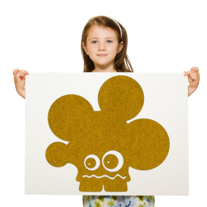 felty Filz Figur Monster zur Wandgestaltung Wohnraum Kinder Modell Curly Sue Größe M Farbe A12 senfgelb meliert Modellbeispiel