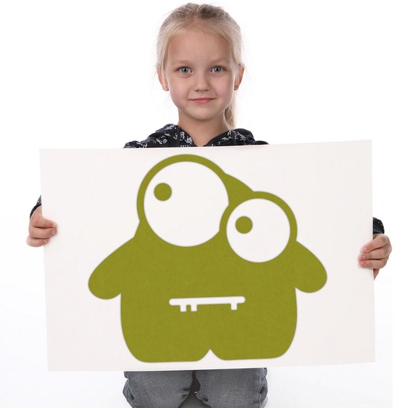 felty Filz Figur Monster zur Wandgestaltung Wohnraum Kinder Modell Garry Glubsch Größe M Farbe A60 kiwi Modellbeispiel