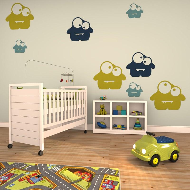 felty Filz Figur Monster zur Wandgestaltung Wohnraum Kinder Modell Garry Glubsch Farb- und Größenkombination Kinderzimmer Szene 01