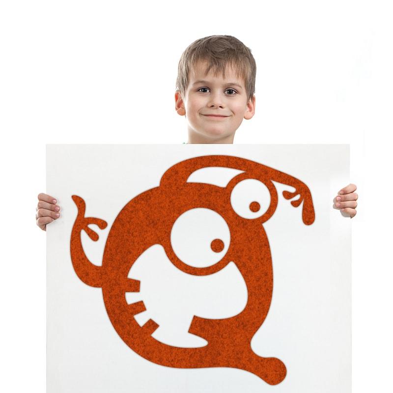 felty Filz Figur Monster zur Wandgestaltung Wohnraum Kinder Modell Gustav Grusel Größe L Farbe A13 orange meliert Modellbeispiel