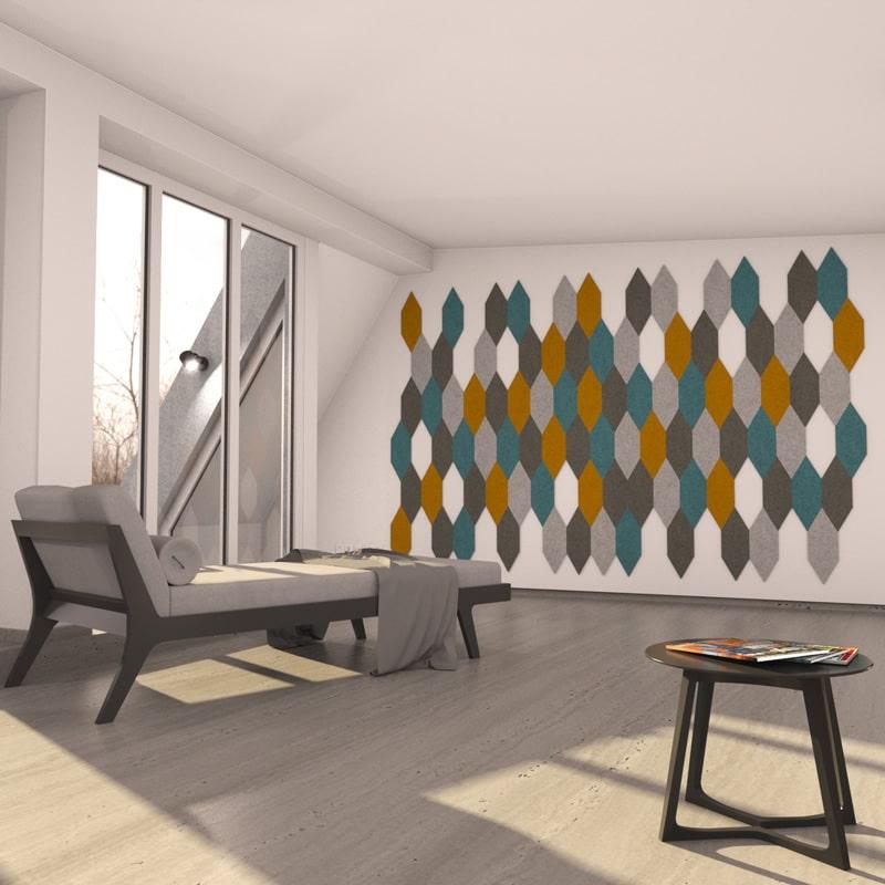 felty Filz Fliese zur Wandgestaltung Wohnraum Modell James Größe L Farbkombination Wohnzimmer Szene 01