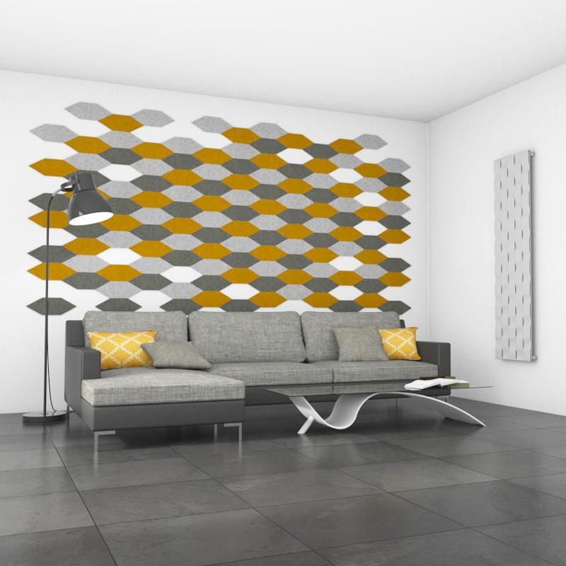 felty Filz Fliese zur Wandgestaltung Wohnraum Modell James Größe M Farbkombination Wohnzimmer Szene 01