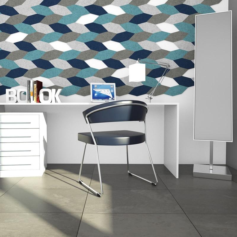 felty Filz Fliese zur Wandgestaltung Wohnraum Modell James Größe S Farbkombination Arbeitszimmer Szene 01