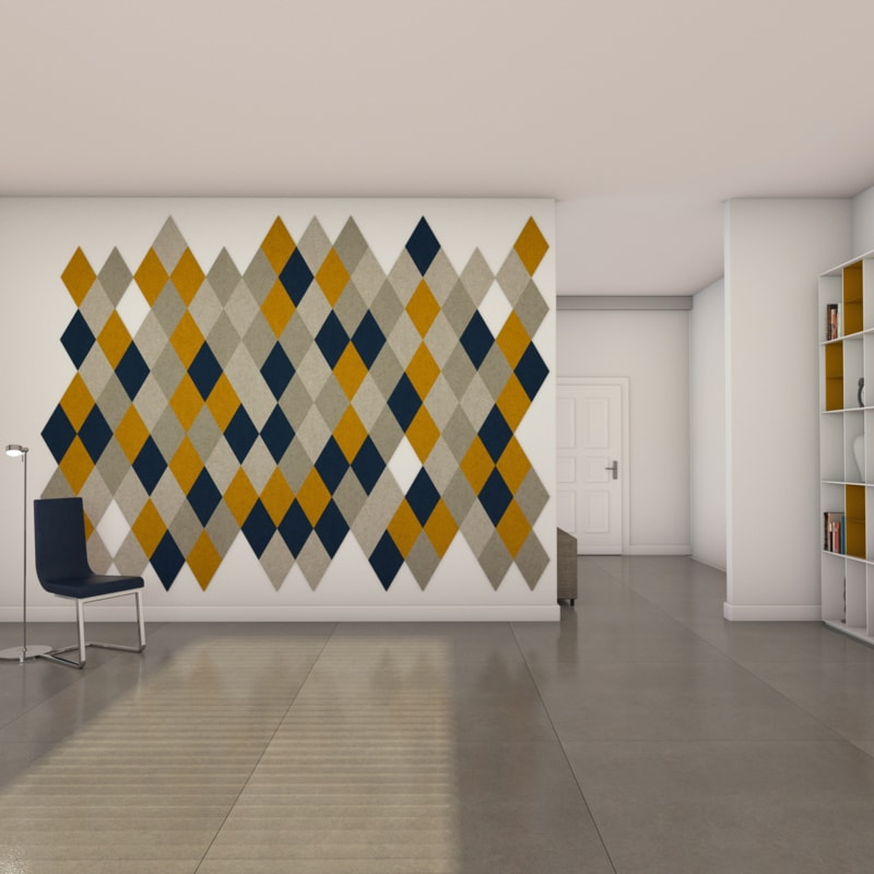 felty Filz Fliese zur Wandgestaltung Wohnraum Modell Jill Größe L Farbkombination Wohnzimmer Szene 01