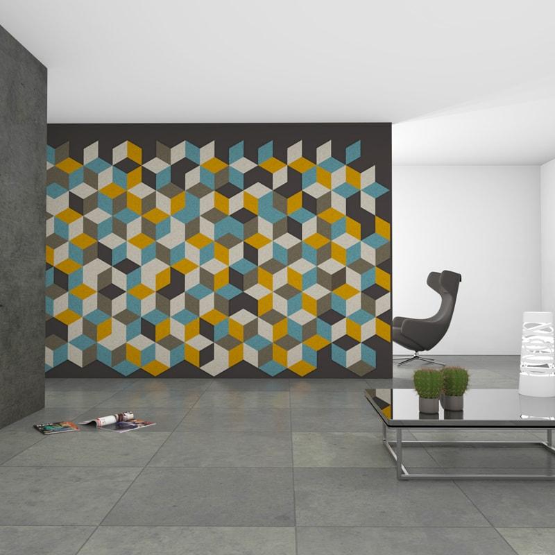 felty Filz Fliese zur Wandgestaltung Wohnraum Modell Jill Größe M Farbkombination Wohnzimmer Szene 01