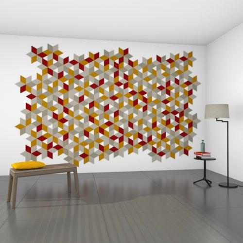 felty Filz Fliese zur Wandgestaltung Wohnraum Modell Jill Größe S Farbkombination Wohnzimmer Szene 01