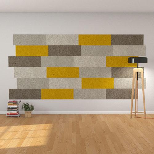 felty Filz Fliese zur Wandgestaltung Wohnraum Modell Lina Größe L Farbkombination Wohnzimmer Szene 01