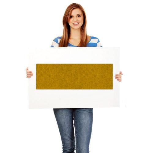felty Filz Fliese zur Wandgestaltung Wohnraum Modell Lina Größe M Farbe A12 senfgelb meliert Modellbeispiel