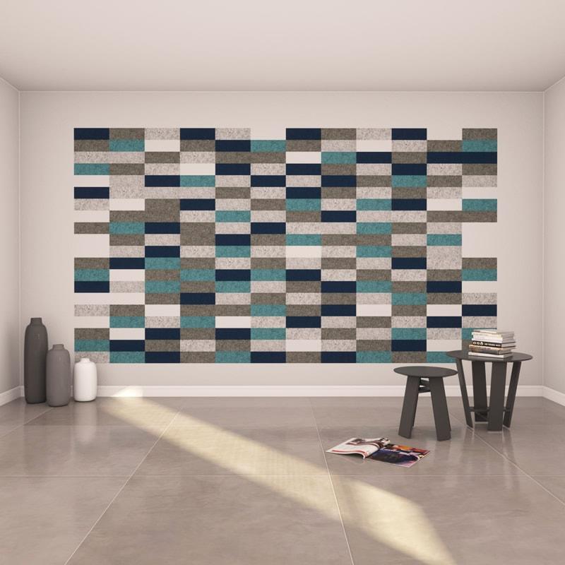 felty Filz Fliese zur Wandgestaltung Wohnraum Modell Lina Größe S Farbkombination Wohnzimmer Szene 01