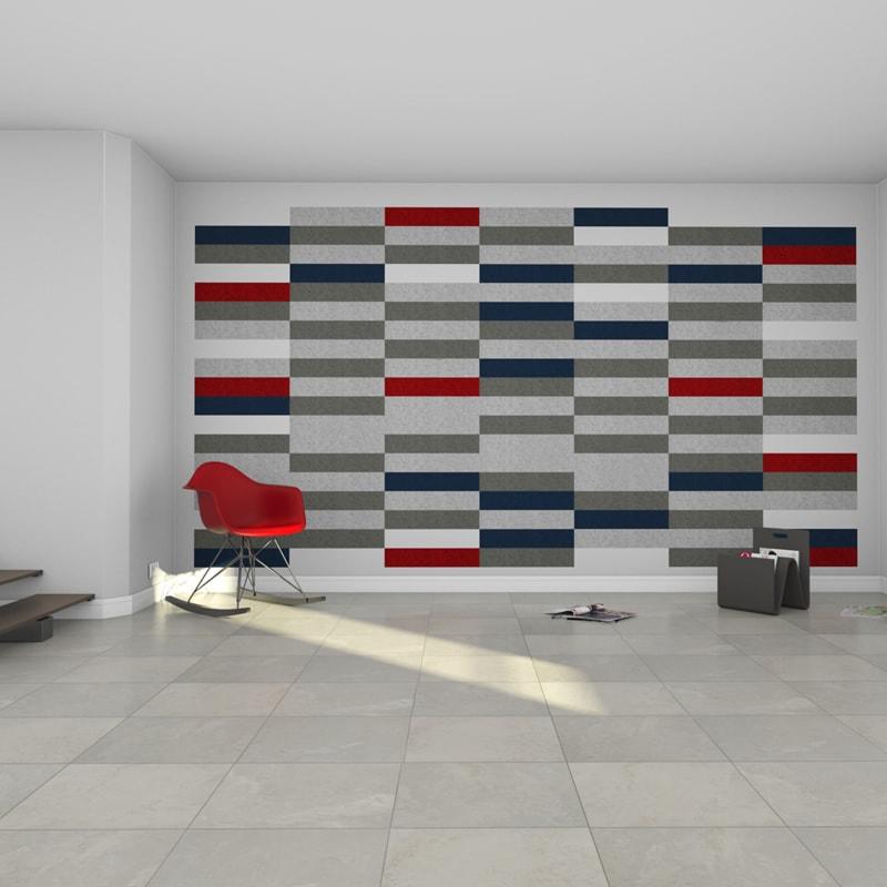 felty Filz Fliese zur Wandgestaltung Wohnraum Modell Maria Größe M Farbkombination Wohnzimmer Szene 01