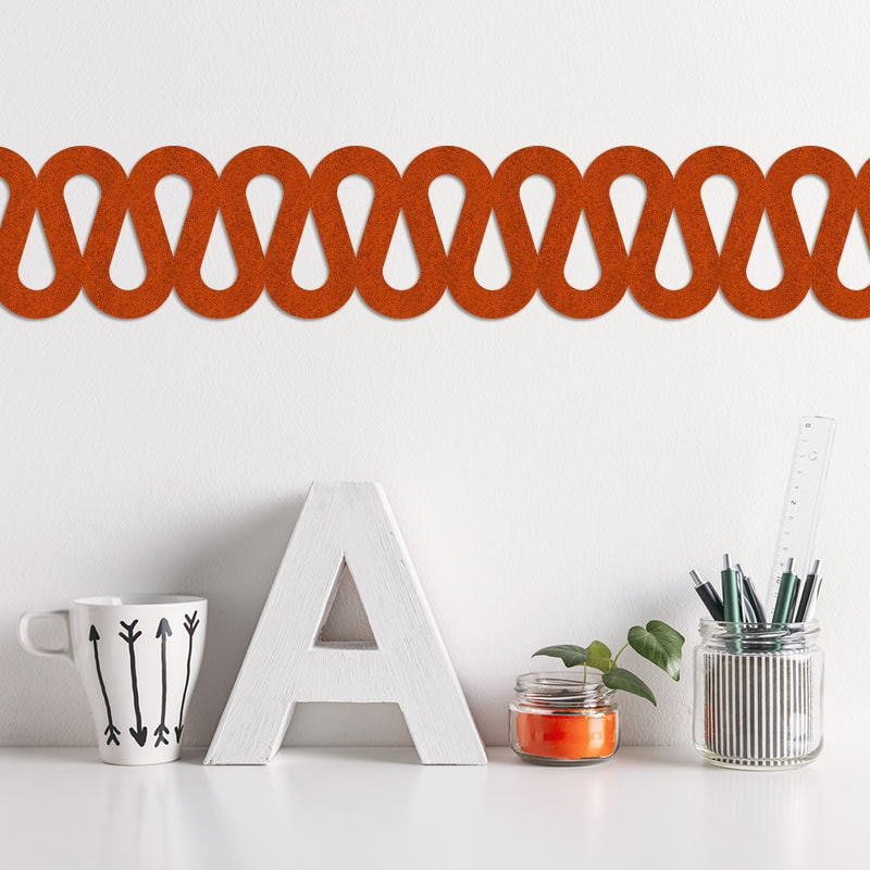 felty Filz Border Bordüre zur Wandgestaltung Wohnraum Modell Beach Farbe A13 orange meliert Modellbeispiel
