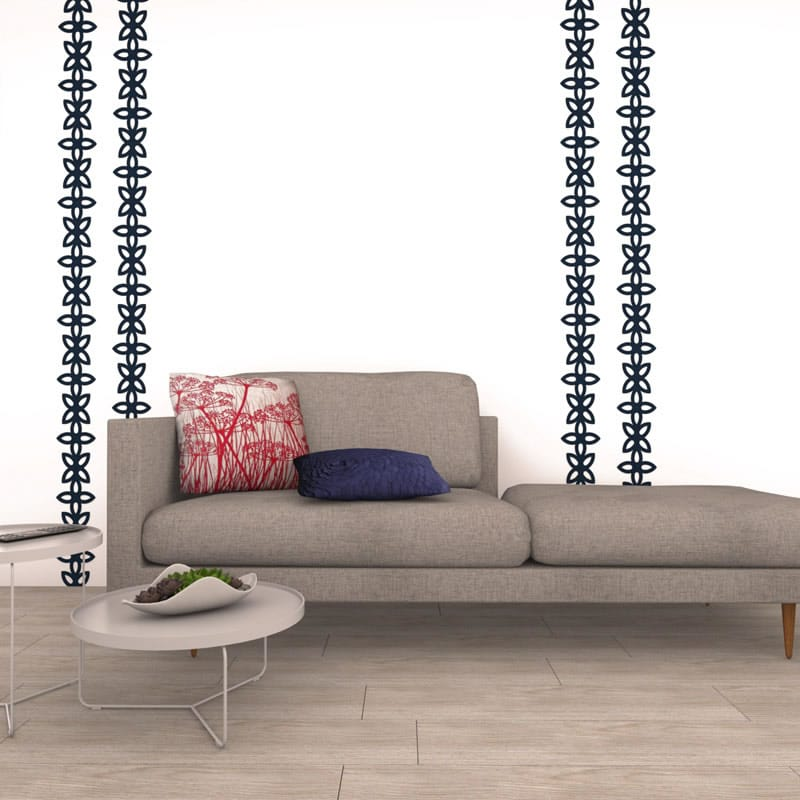 felty Filz Border Bordüre zur Wandgestaltung Wohnraum Modell Tamara Größe M Farbe A82 stahlblau Szene 01