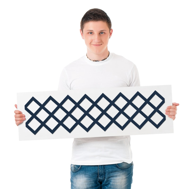 felty Filz Border Bordüre zur Wandgestaltung Wohnraum Modell Timmy Größe L Farbe A82 stahlblau Modellbeispiel