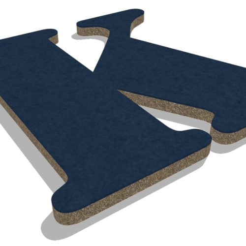 felty Filz Buchstabe Wollfilz auf Vliesplatte zur Wandgestaltung Wohnraum Modell Bill Plus Buchstabe K Farbe A82 stahlblau Detailansicht