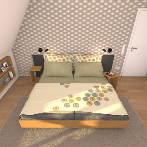felty Filz Wandpaneel zur Wandgestaltung Wohnraum Modell Annie Farbe A03 erdbraun meliert Szene 01