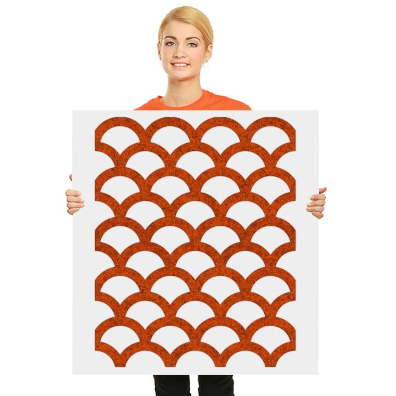 felty Filz Wandpaneel zur Wandgestaltung Wohnraum Modell Florence Größe L Farbe A13 orange meliert Modellbeispiel