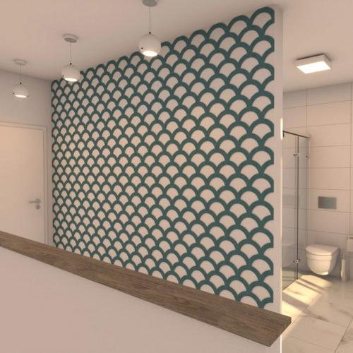 felty Filz Wandpaneel zur Wandgestaltung Wohnraum Modell Florence Farbe A15 pazifik meliert Szene 01