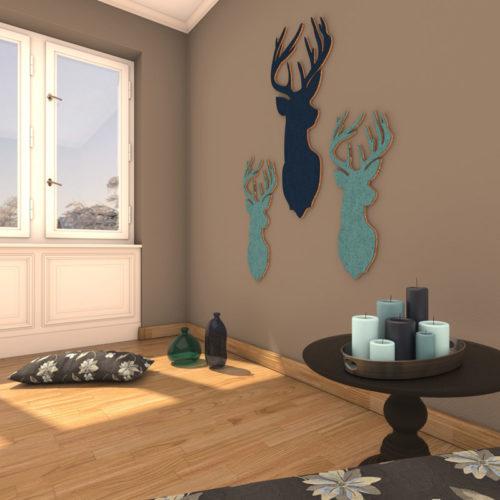 felty Filz Figur Wollfilz auf Korkplatte zur Wandgestaltung Wohnraum Modell Tier Bruno Plus Farb- und Größenkombination Wohnzimmer Szene 01