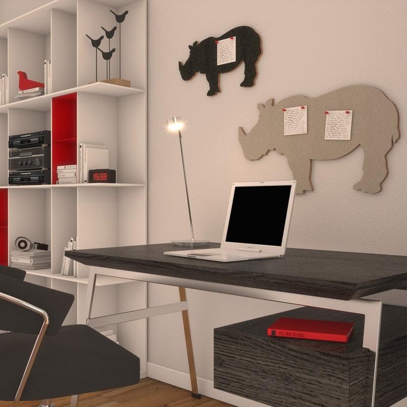 felty Filz Figur Wollfilz auf Vliesplatte zur Wandgestaltung Wohnraum Modell Tier Sam Plus Farb- und Größenkombination Arbeitszimmer Szene 01