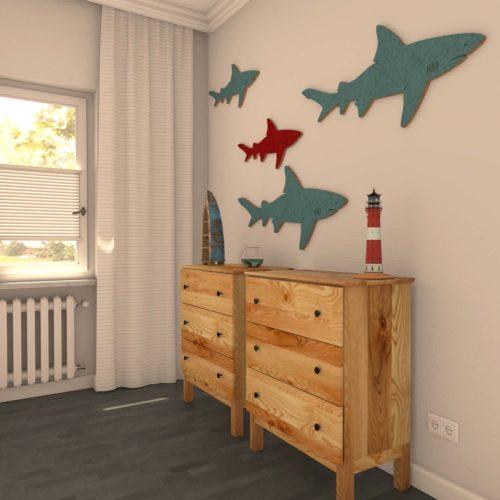 felty Filz Figur Wollfilz auf Vliesplatte zur Wandgestaltung Wohnraum Modell Tier Sharky Plus Farb- und Größenkombination Wohnzimmer Szene 01