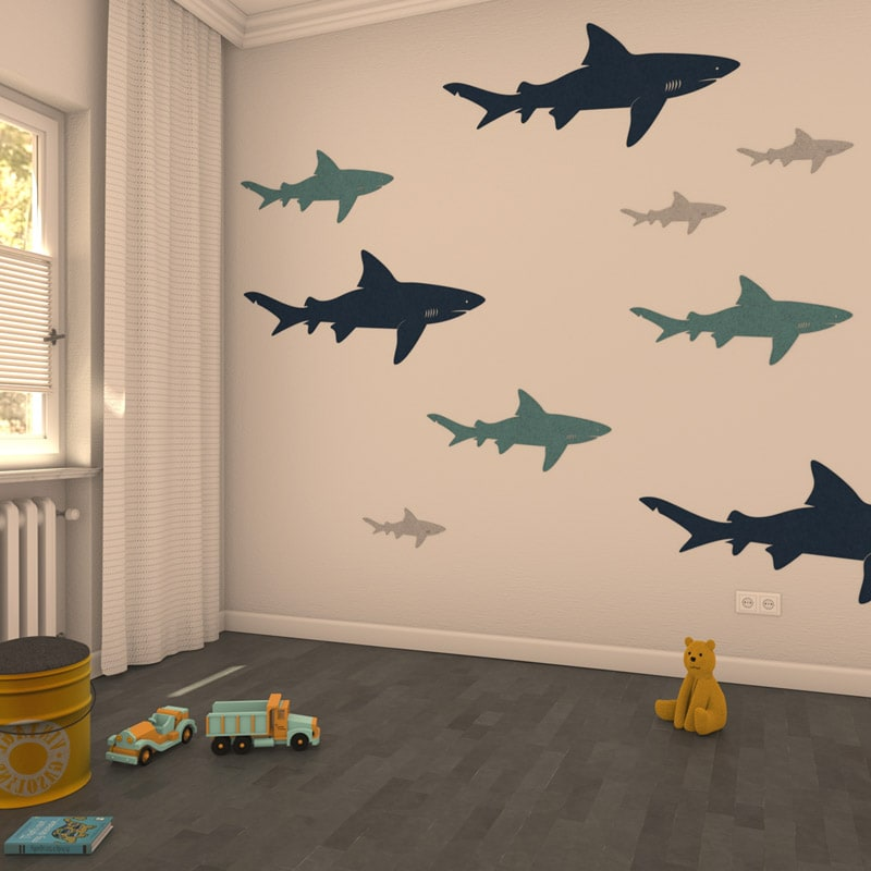 felty Filz Figur zur Wandgestaltung Wohnraum Modell Tier Sharky Farb- und Größenkombination Kinderzimmer Szene 01
