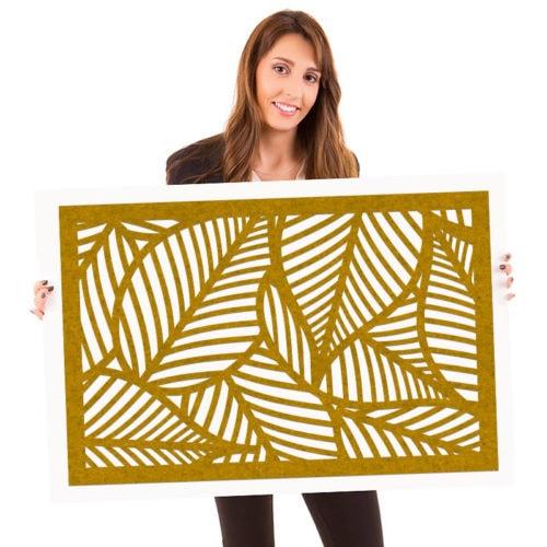 felty Filz Poster Modell Leaf Größe L Farbe A12 senfgelb meliert Modellbeispiel