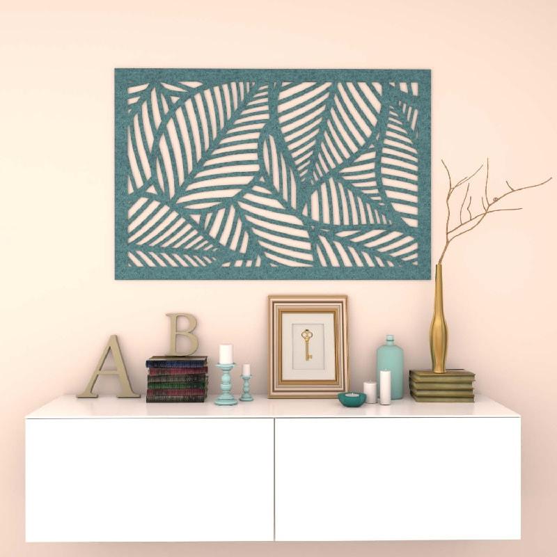 felty Filz Poster zur Wandgestaltung Wohnraum Modell Leaf Farbe A15 pazifik meliert Szene 01