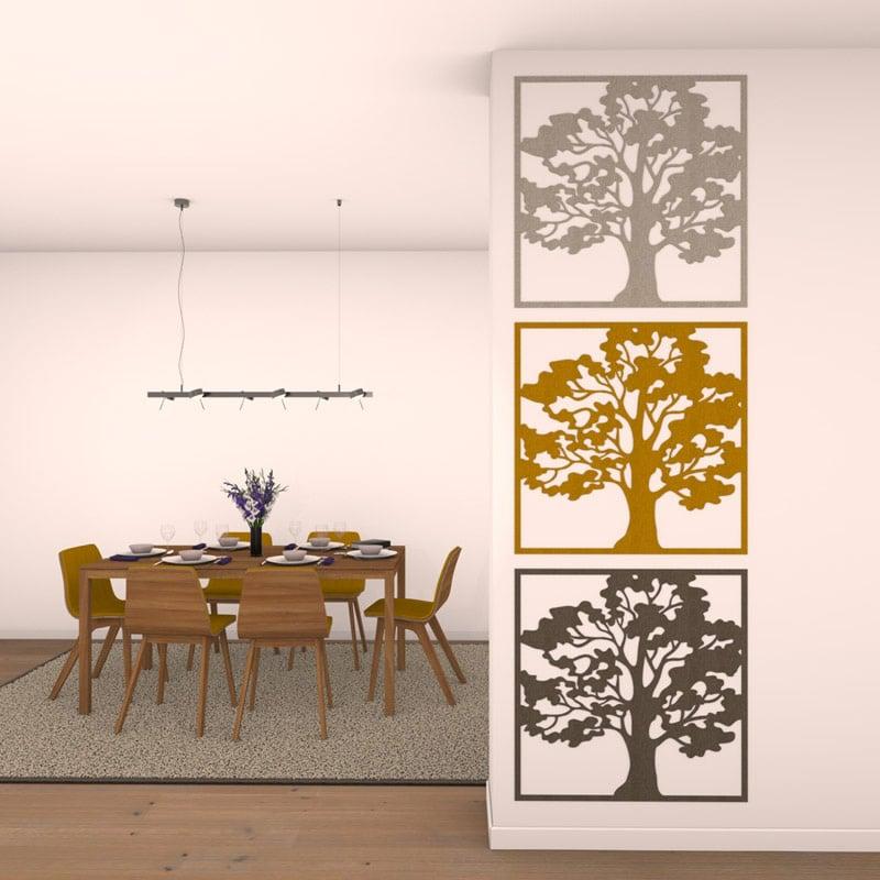 felty Filz Poster zur Wandgestaltung Wohnraum Modell Oak Farbe A06 hellgrau meliert A12 senfgelb meliert A03 erdbraun meliert Szene 01