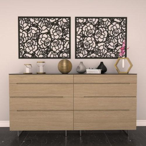 felty Filz Poster zur Wandgestaltung Wohnraum Modell Rose Farbe A10 schwarz meliert Szene 01