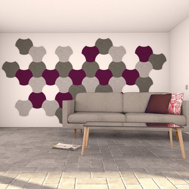 felty Filz Fliese zur Wandgestaltung Wohnraum Modell Jasmin Größe L Farbkombination Wohnzimmer Szene 01