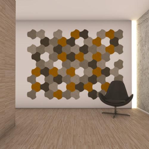 felty Filz Fliese zur Wandgestaltung Wohnraum Modell Jasmin Größe M Farbkombination Wohnzimmer Szene 01