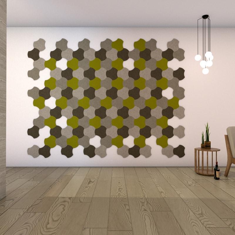felty Filz Fliese zur Wandgestaltung Wohnraum Modell Jasmin Größe S Farbkombination Wohnzimmer Szene 01