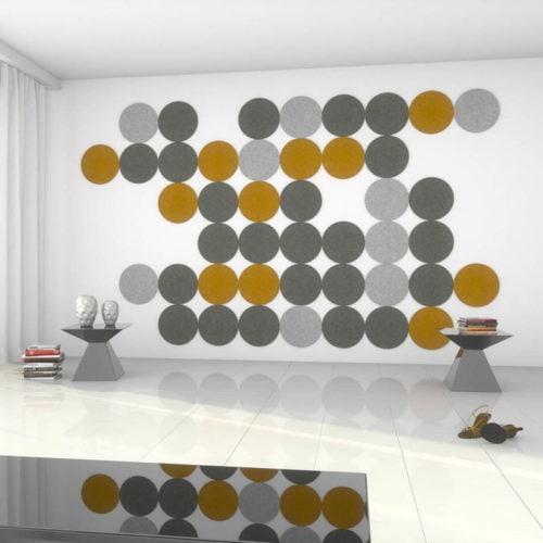 felty Filz Fliese zur Wandgestaltung Wohnraum Modell Olli Größe L Farbkombination Wohnzimmer Szene 01