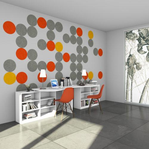 felty Filz Fliese zur Wandgestaltung Wohnraum Modell Olli Größe M Farbkombination Arbeitszimmer Szene 01