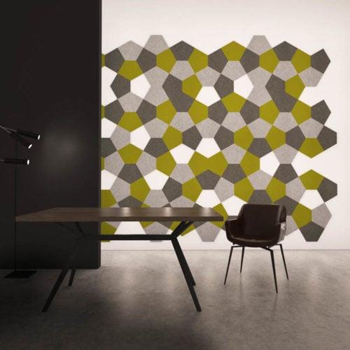 felty Filz Fliese zur Wandgestaltung Wohnraum Modell Penny Größe L Farbkombination Esszimmer Szene 01