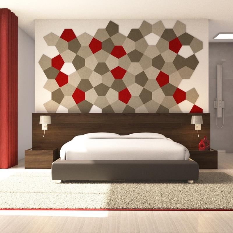 felty Filz Fliese zur Wandgestaltung Wohnraum Modell Penny Größe M Farbkombination Schlafzimmer Szene 01