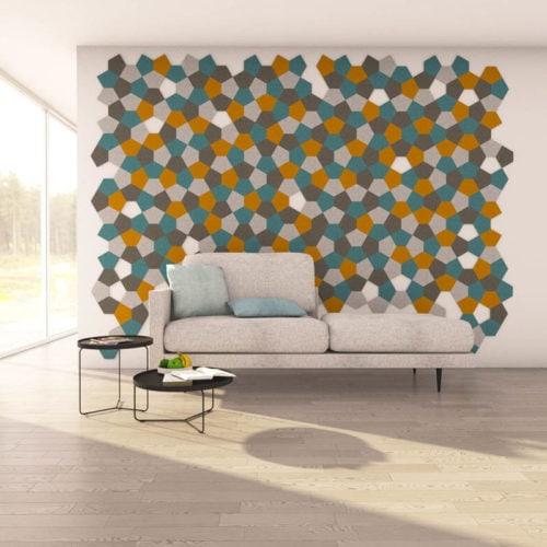 felty Filz Fliese zur Wandgestaltung Wohnraum Modell Penny Größe S Farbkombination Wohnzimmer Szene 01