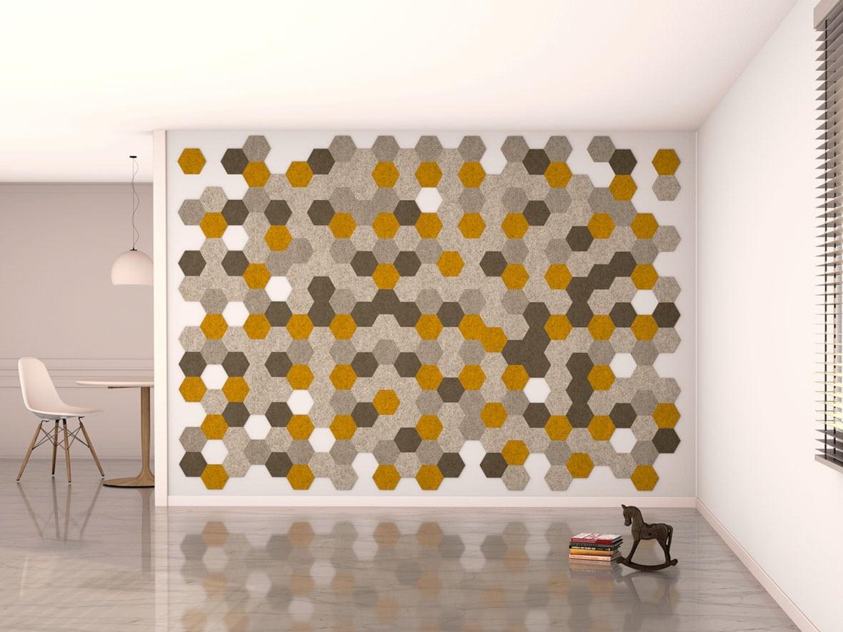 felty Filz Fliese zur Wandgestaltung Wohnraum Modell Hexo Größe S Farbkombination Wohnzimmer Szene 02