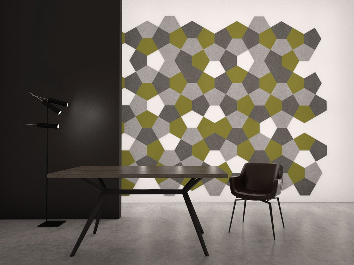 felty Filz Fliese zur Wandgestaltung Wohnraum Modell Penny Größe L Farbkombination Esszimmer Szene 02
