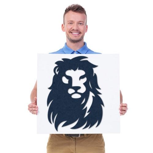 felty Filz Figur zur Wandgestaltung Wohnraum Modell Löwe Größe M Farbe A82 stahlblau Modellbeispiel