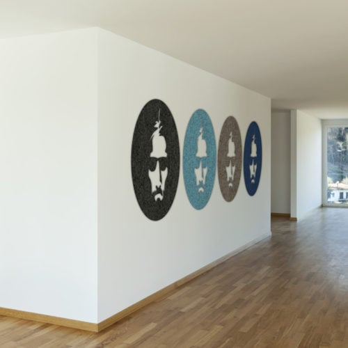 felty Filz Figur zur Wandgestaltung Wohnraum Modell Joe Ausführung Kreis Form Größe L Farbkombinationen Flur Szene 01