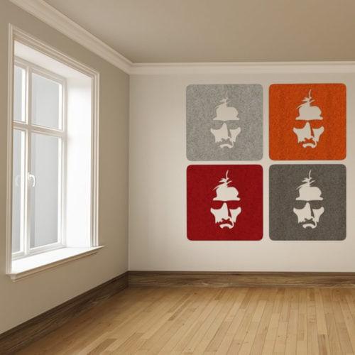 felty Filz Figur zur Wandgestaltung Wohnraum Modell Joe Ausführung quadratische Form Größe L Farbkombinationen Szene 01
