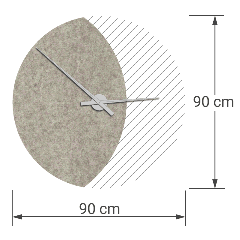 felty Filz Wanduhr Wollfilz auf Vliesplatte zur Wandgestaltung Wohnraum Modell Luna zunehmender Mond Größe L Blatt 01 Farbe A01 rohweiß meliert