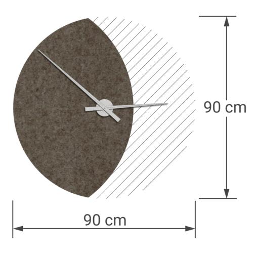 felty Filz Wanduhr Wollfilz auf Vliesplatte zur Wandgestaltung Wohnraum Modell Luna zunehmender Mond Größe L Blatt 01 Farbe A03 erdbraun meliert