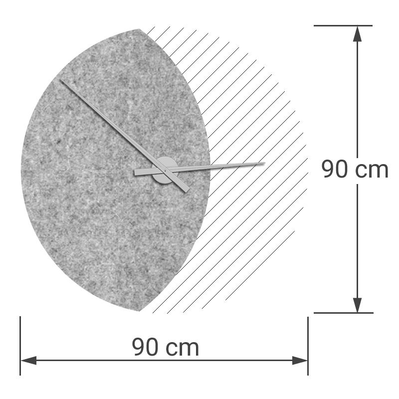 felty Filz Wanduhr Wollfilz auf Vliesplatte zur Wandgestaltung Wohnraum Modell Luna zunehmender Mond Größe L Blatt 01 Farbe A06 hellgrau meliert