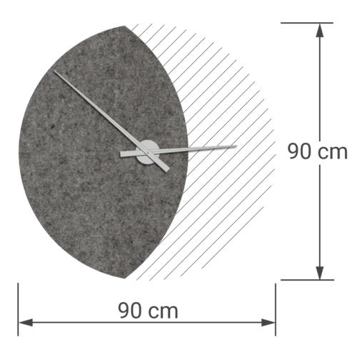 felty Filz Wanduhr Wollfilz auf Vliesplatte zur Wandgestaltung Wohnraum Modell Luna zunehmender Mond Größe L Blatt 01 Farbe A08 quarz meliert
