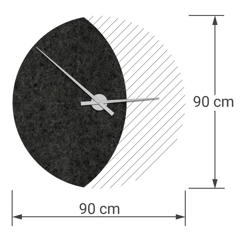 felty Filz Wanduhr Wollfilz auf Vliesplatte zur Wandgestaltung Wohnraum Modell Luna zunehmender Mond Größe L Blatt 01 Farbe A10 schwarz meliert