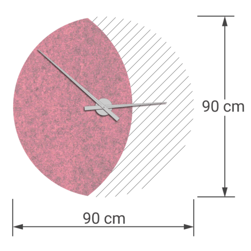 felty Filz Wanduhr Wollfilz auf Vliesplatte zur Wandgestaltung Wohnraum Modell Luna zunehmender Mond Größe L Blatt 01 Farbe A11 rosa meliert